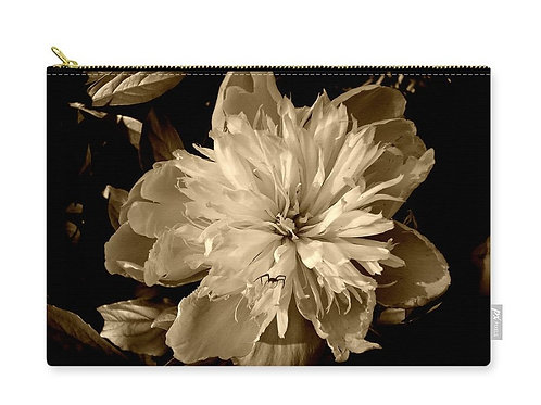 Peony and Spider Sepia Tone Floral Closeup, Zip Carry Pouch