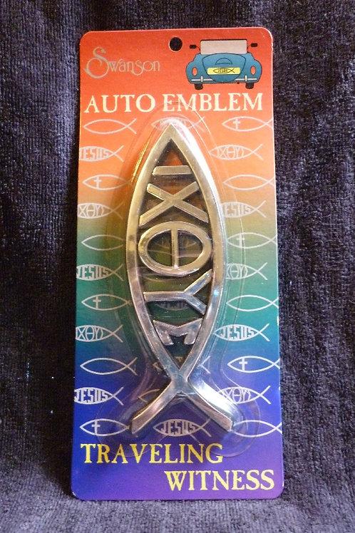 3D Fish Symbol with Greek Letters Auto Emblem