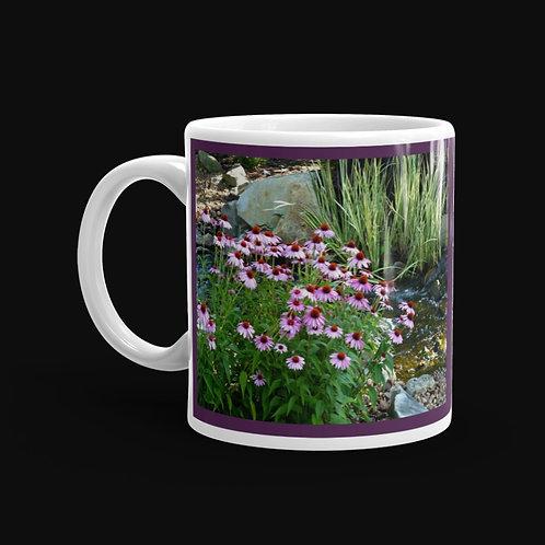 Garden Stream and Flowers 11 oz Ceramic Mug, Dishwasher and Microwave Safe