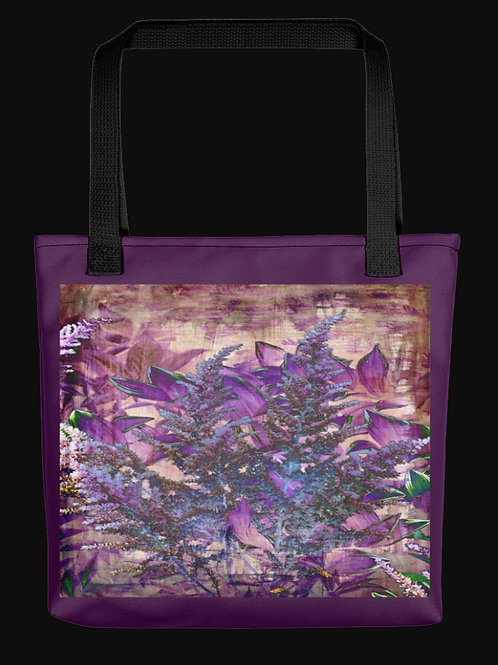 Purple Abstract Astilbe Flowers, 15x15 Polyester Tote Bag