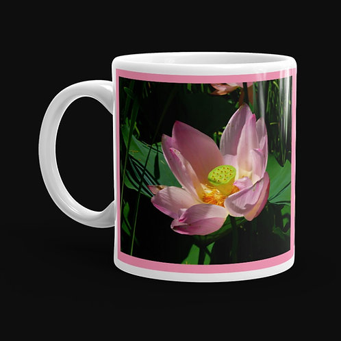 Pink Lotus Blossom Close-up, 11 oz Ceramic Mug, Dishwasher and M