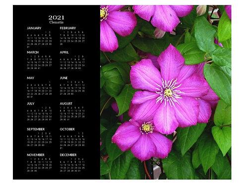 2021 Clematis Flowers Calendar, 8x10 One Page Calendar