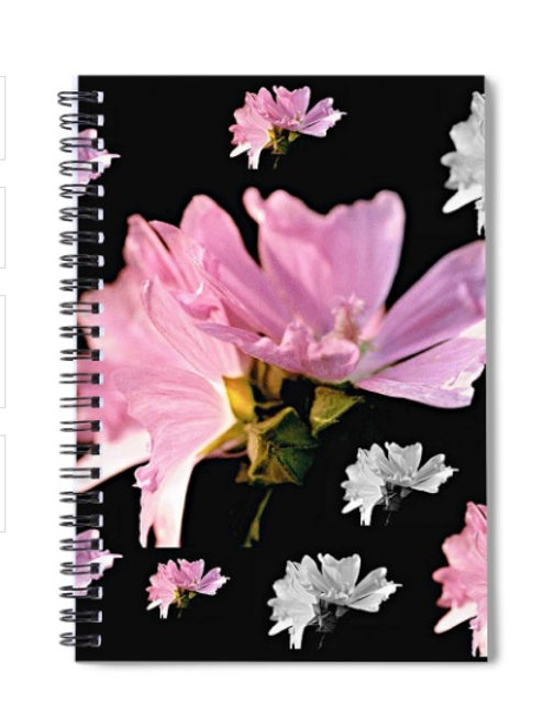 Pink and White Mallow Blossom Collage, 6x8 Spiral Notebook