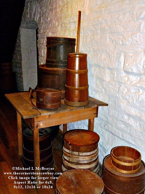 Wooden Shaker Containers and Butter Churn, Historic Still Life Photo