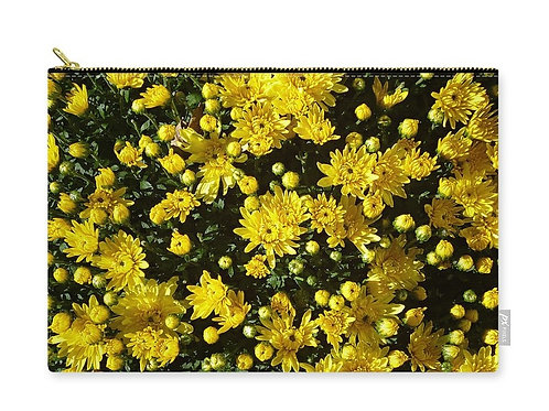 A Collection of Bright Yellow Mums, Zip Carry Pouch