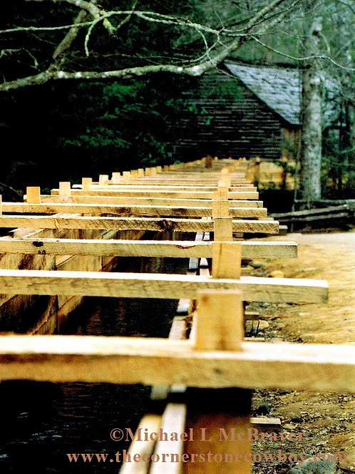 Closeup of Old Cades Cove Millrace, Architectural Subject Photo