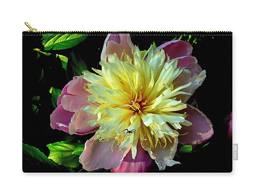 Pink and Yellow Peony with Spider, Zip Carry Pouch
