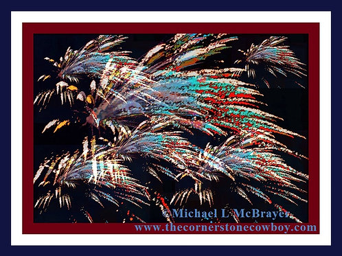 Fireworks Abstract with Patriotic Border, Digital Compostion Photo