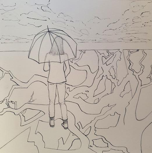 Fille au parapluie, 2020, encre de chine sur papier, 28x28cm