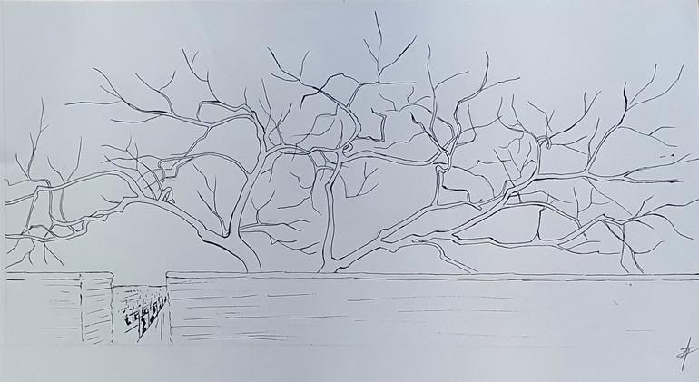Le Clos 1, 2021, plume et encre de chine sur papier, 20x40 cm