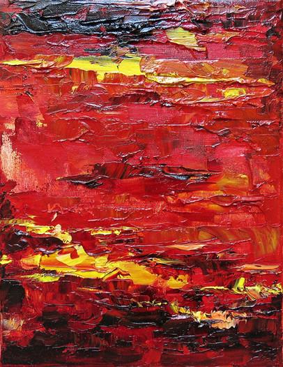 Petit impression rouge, 2016, huile sur toile, 35x27cm