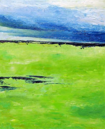Mer verte, 2017, huile sur toile, 61x50cm