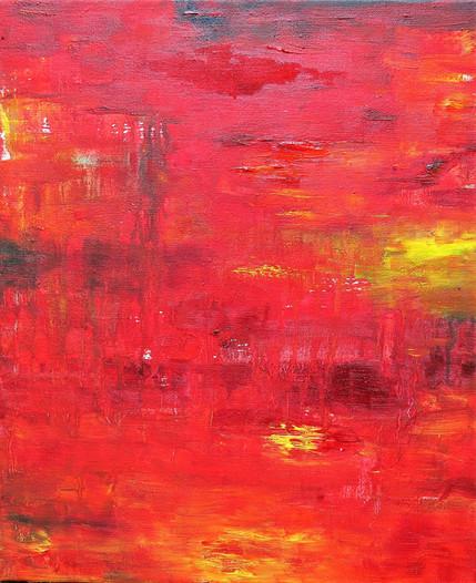 Grande impression rouge, 2016, huile sur toile, 46x38cm