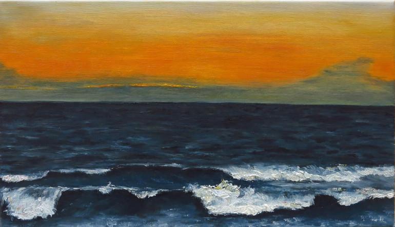 Ciel orange, 2020, huile sur toile, 24x41cm