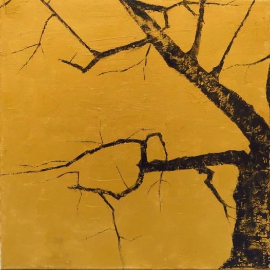 Shinobazu cherry tree, 2020, huile sur toile, 40x40cm