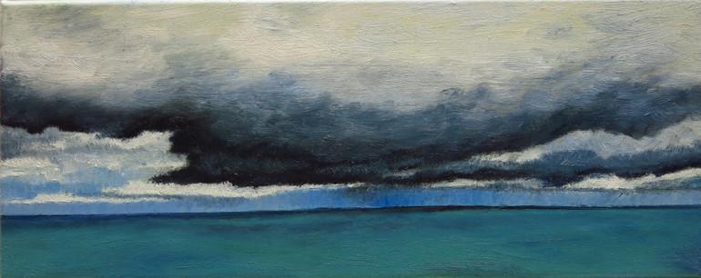 Ondée à l'horizon, 2019, huile sur toile, 20x50cm VENDU