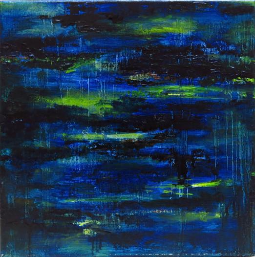 Petite impression bleue, 2017, huile sur toile, 30x30cm VENDU