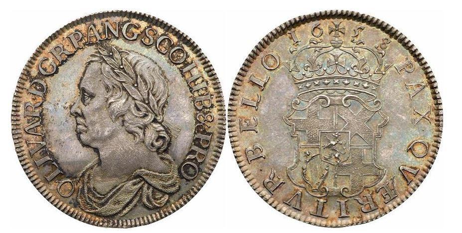 Großbritannien. Oliver Cromwell. Silver Crown. 1658. NGC MS64. KM# D207.