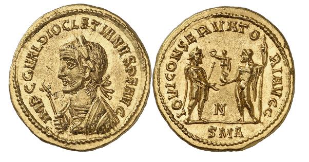 Römische Kaiserzeit. Diocletianus, 284-305. Aureus, 286, Antiochia. 2. bekanntes Exemplar. Vorzüglich bis Stempelglanz.