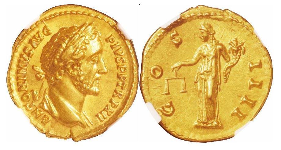 Römisches Reich. Antoninus Pius (138-161 n. Chr.). Gold Aureus. NGC MS - Prägung: 5/5; Oberfläche: 4/5. Sear# 4003.