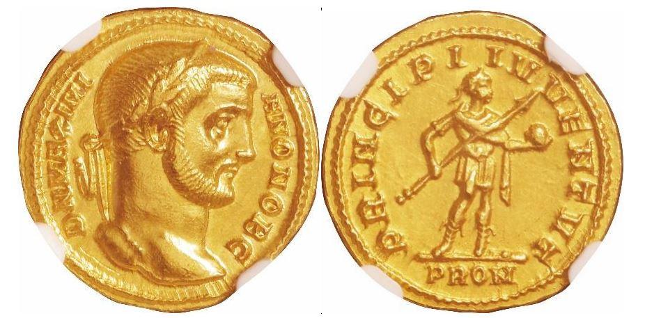 Römisches Reich. Galerius (305-311 n. Chr.) als Cäsar (293-305 n. Chr.) unter Diokletian. NGC Ch AU - Prägung: 5/5; Oberfläche: 3/5. Sear# 14219.