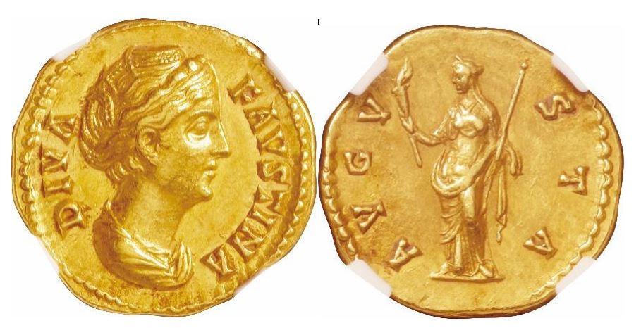Römisches Reich. Faustina Senior (138–140 n. Chr.), Posthume Ausgabe. Gold Aureus. NGC Ch AU - Prägung: 5/5; Oberfläche: 5/5. Sear# Unlisted.