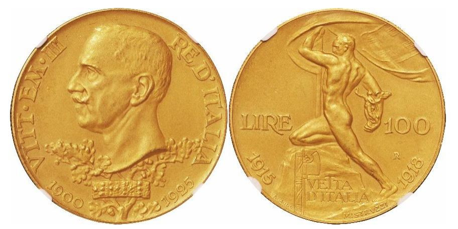 Italien. Vittorio Emanuele III. Gold Matte Proof 100 Lire. 1925-R. PCGS PF64 MATTE, Münzstätte Rom. KM# 66.