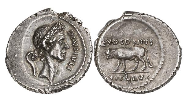 Römische Republik. Caesar, + 44. Denar, 40 v. Chr. Sehr selten. Aus Sammlung Haeberlin, Auktion Cahn / Hess (1933), Nr. 3001. Sehr selten. Sehr schön bis vorzüglich.