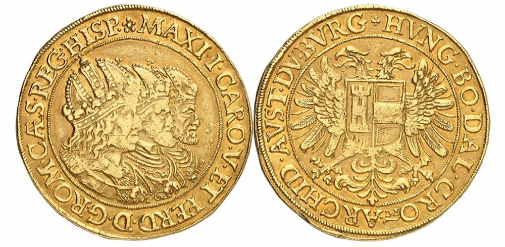 RDR. Rudolf II., 1576-1612. 10 Dukaten o. J., Prag. Dreikaiserprägung. Sehr selten. Sehr schön.