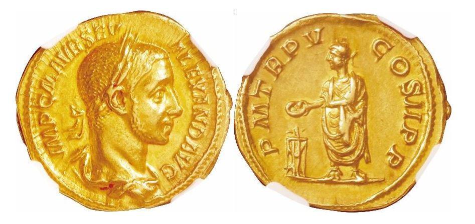 Römisches Reich. Alexander Severus (222-235 n. Chr.). Gold Aureus. NGC AU - Prägung: 5/5; Oberfläche: 4/5. Sear# 7828.