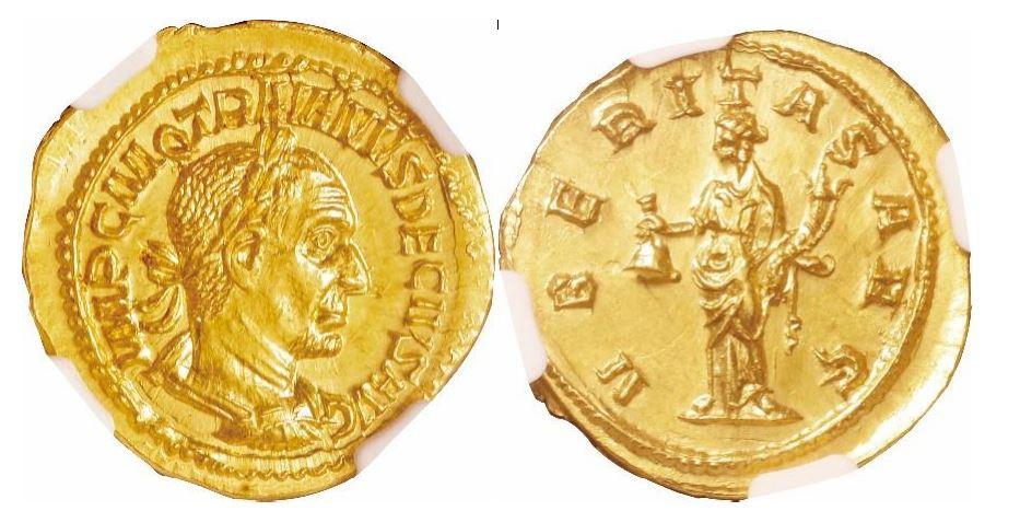 Römisches Reich. Trajan Decius (249-251 n. Chr.). Gold Aureus. NGC MS - Prägung: 5/5; Oberfläche: 4/5. Sear# 9361.