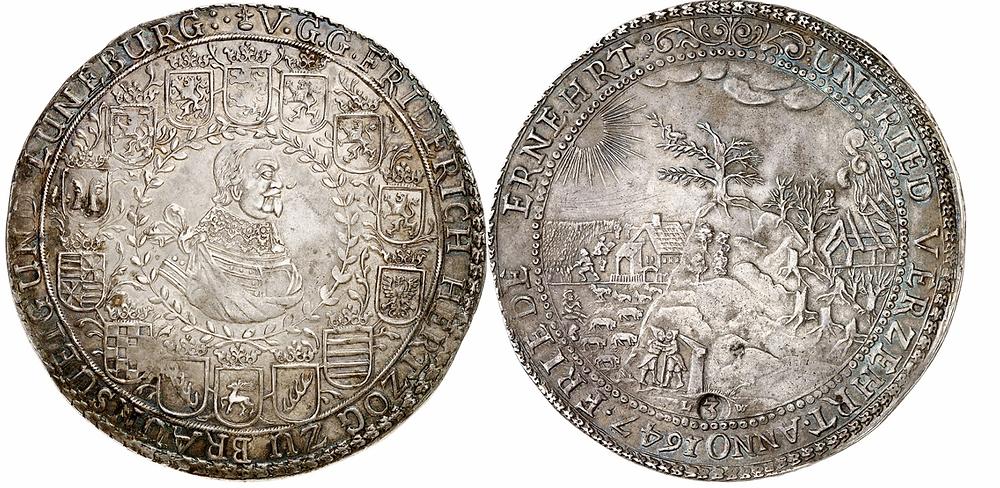 """Braunschweig-Lüneburg-Celle. Friedrich 1636-1648. Löser zu 3 Reichstalern 1647, Clausthal. Ausbeute der Harzer Gruben. Sehr selten. Aus Sammlung Erich Götz """"Montangepräge"""". Sehr schön bis vorzüglich."""