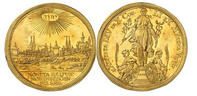 254 - Nürnberg. 5 Dukaten 1698 auf die Jahresfeier des Friedens von Rijswijk. Sehr selten. Fast Stempelglanz. NGC MS63. Taxe: 40.000,- Euro. Zuschlag: 120.000,- Euro.