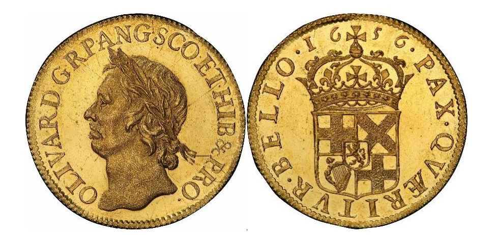 Großbritannien. Oliver Cromwell. Gold Proof Pattern Broad. 1656. PCGS PR63 Cameo. KM# Pn25.