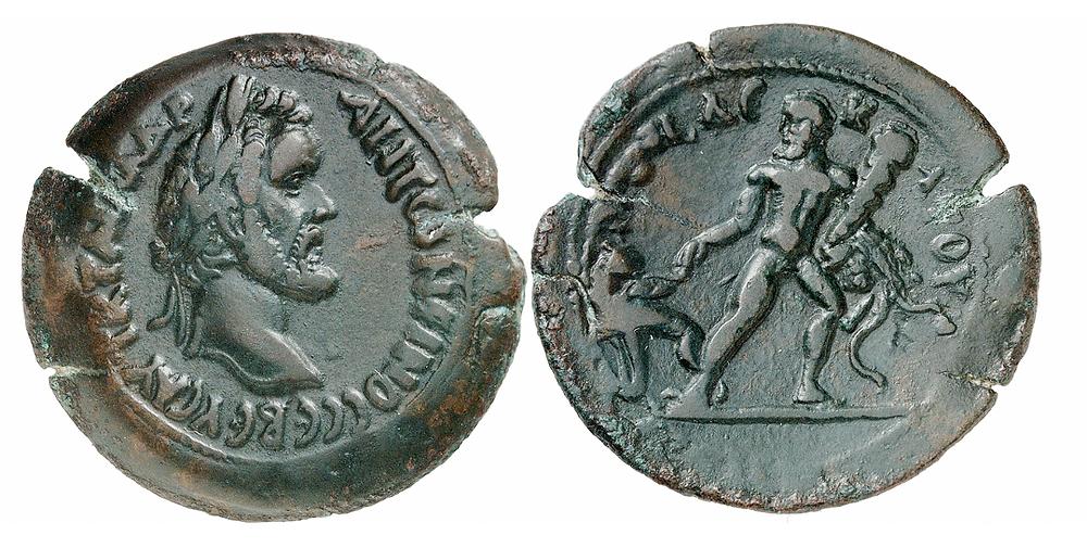 Alexandria. Antoninus Pius, 138-161. Drachme, Jahr 10 (= 146/7). Rv. Herakles entführt den Kerberos aus der Unterwelt. Sehr selten. Aus Sammlung Dattari. Sehr schön.
