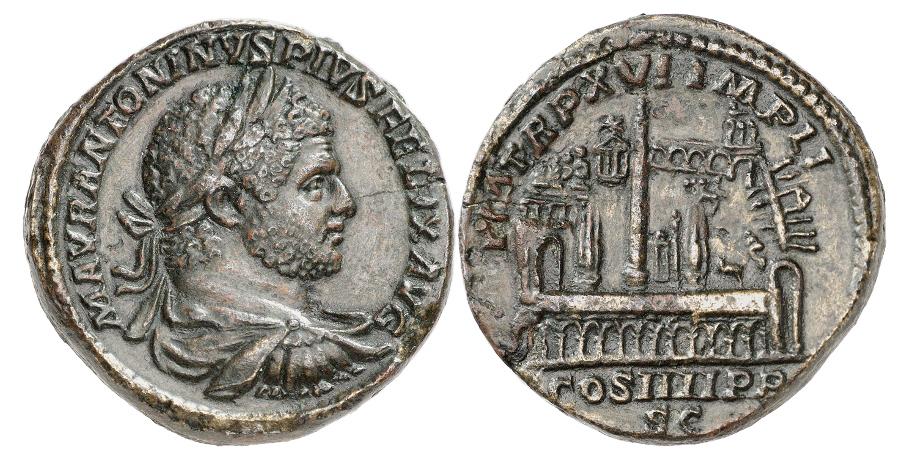 Römische Kaiserzeit. Caracalla, 198-217. Sesterz, 213. Rv. Circus Maximus. Sehr selten. Aus Sammlung Sir Arthur Evans und Niggeler. Leicht geglättet. Fast vorzüglich.