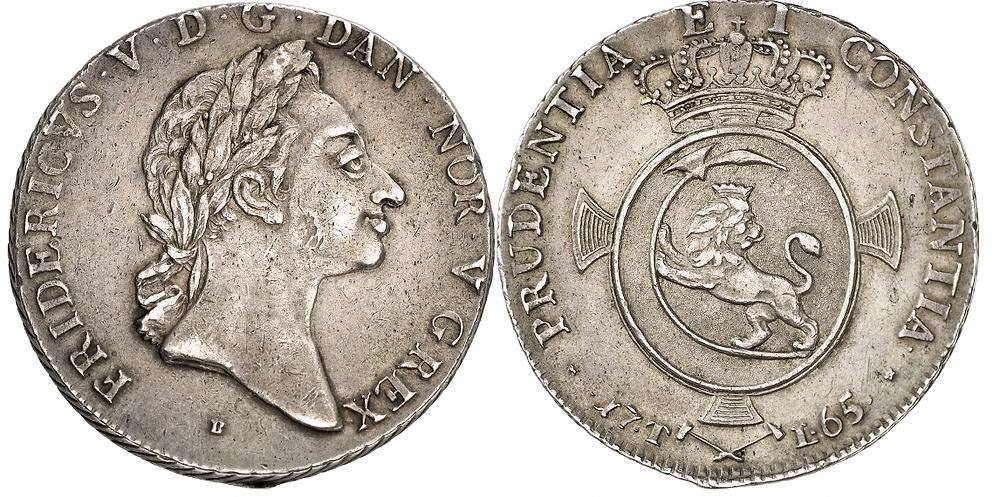 Norwegen. Frederik V., 1746-1766. Speciedaler 1765, Kongsberg. Sehr selten. Vorzüglich.