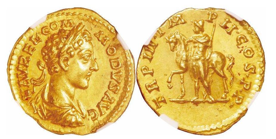 Römisches Reich. Commodus (177-192 n. Chr.). Gold Aureus. NGC MS - Prägung: 5/5; Oberfläche: 4/5. Sear# 5611.