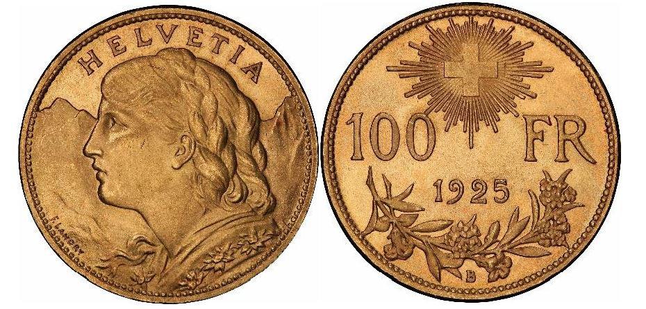 Schweiz. Helvetia. Gold 100 Franken. 1925-B. PCGS MS64. KM# 39.