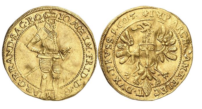 Joachim Friedrich, 1598-1608. Dukat 1605, Cöln. Äußerst selten. Gutes sehr schön.