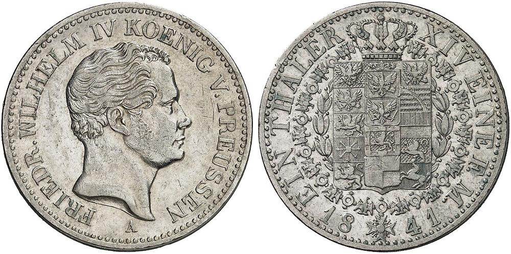 Friedrich Wilhelm IV., Taler (im Gegenwert von 30 Silbergroschen), Silber, 1841. [Bildquelle: Künker, Sommerauktion 2014, Los 938].
