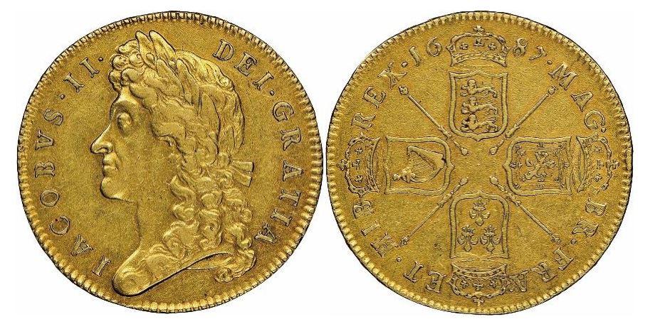 Großbritannien. James II. Gold 5 Guineen. 1687. NGC AU53. KM# 460.1.