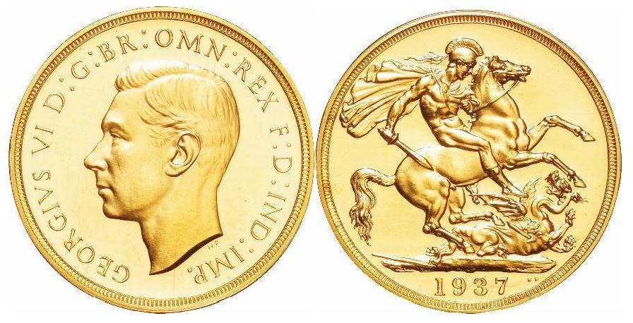 Großbritannien. George VI. Gold Sovereign Proof Set mit 4 Münzen (5 Pfund, 2 Pfund, Sovereign, 1/2 Sovereign). 1937. KM# PS22.