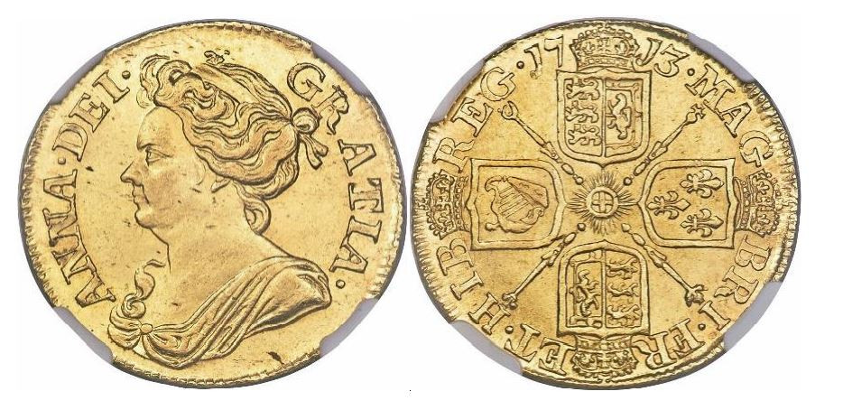 Großbritannien. Anne. Gold Guinea. 1713. NGC MS63. KM# 534.