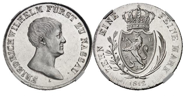 Nassau. Friedrich Wilhelm zu Weilburg, 1806-1816. Probe zum Konventions-Taler 1812. NGC MS61 PL. Äußerst selten. Gutes vorzüglich.