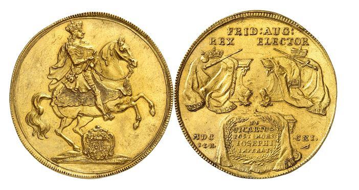 315 - Sachsen. Friedrich August I. (= August der Starke), 1694-1733. 8 Dukaten 1711, Dresden, auf das Vikariat. Wohl das einzige Exemplar im Handel. Fast vorzüglich. Taxe: 100.000 Euro. Zuschlag: 100.000 Euro.