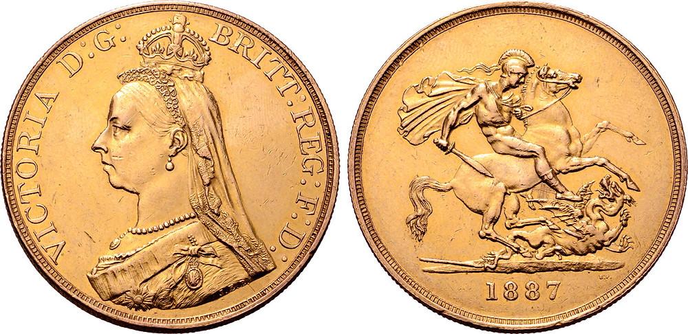 5 Pfund, 1887, Großbritannien, Königin Victoria, Vorderseitenstempel von Joseph Edgar Boehm (Au, 39,97 g, Ø 36 mm). [Bildquelle: Roma Numismatics Ltd., 77. E-Auktion 2020, Los 1744].