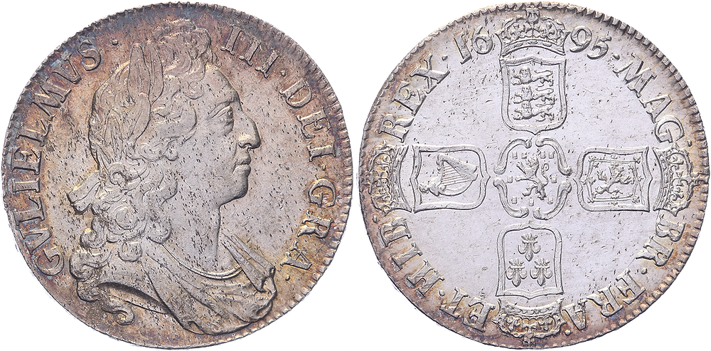 Nr. 1353: Großbritannien. William III (1694-1702). Crown 1695 first reign (Septimo). S.3470. vz. Taxe: 1 500,– Euro.