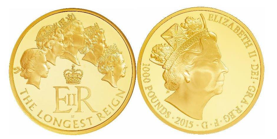 Großbritannien. Elisabeth II., die britische Monarchin mit der längsten Regierungszeit. Gold Proof 1000 Pounds (1 kg). 2015. NGC PF70 ULTRA CAMEO.