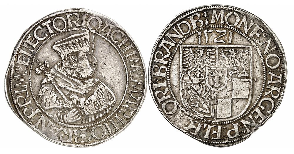 Joachim I., 1499-1535. Taler 1521, Frankfurt / Oder. Aus Auktion Cahn 74 (1932), Nr. 884. Äußerst selten. Gutes sehr schön. Der erste brandenburgische Taler.